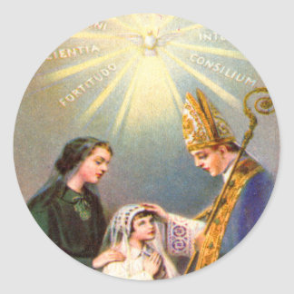 Vintage Kitsch Catholic Holy Card First Communion Classic Round Sticker