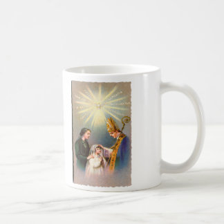 Vintage Kitsch Catholic Holy Card First Communion Coffee Mug