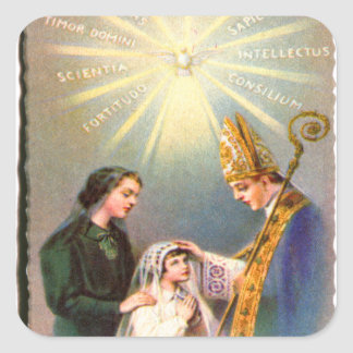 Vintage Kitsch Catholic Holy Card First Communion Square Sticker