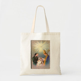Vintage Kitsch Catholic Holy Card First Communion Tote Bag