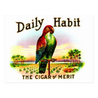 Vintage Kitsch Cigar Box Parrot Daily Habit Label Postcard