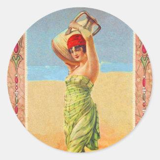 Vintage Kitsch Cigar Tobacco Girl Trade Card Classic Round Sticker