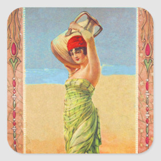 Vintage Kitsch Cigar Tobacco Girl Trade Card Square Stickers