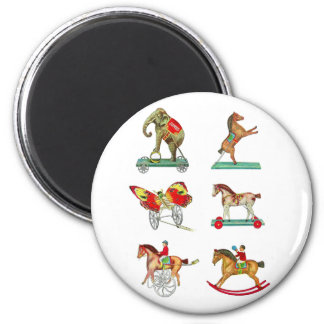 Vintage Kitsch Circus Tin Toys from Toy Catalog 2 Inch Round Magnet