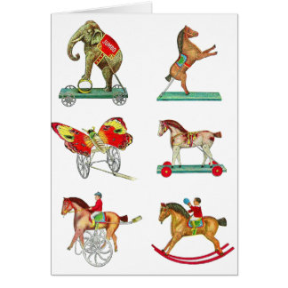 Vintage Kitsch Circus Tin Toys from Toy Catalog Greeting Card