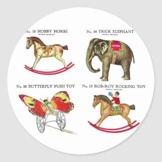 Vintage Kitsch Circus Tin Toys From Toy Catalog Stickers