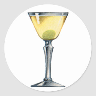 Vintage Kitsch Cocktail Booze Dry Martini Classic Round Sticker