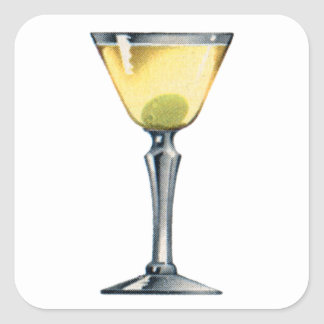 Vintage Kitsch Cocktail Booze Dry Martini Square Sticker