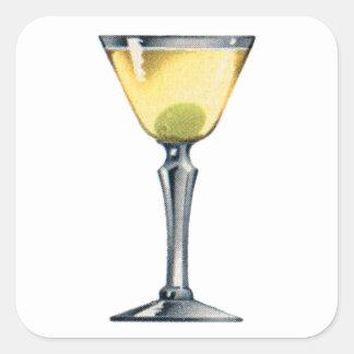 Vintage Kitsch Cocktail Booze Dry Martini Square Sticker