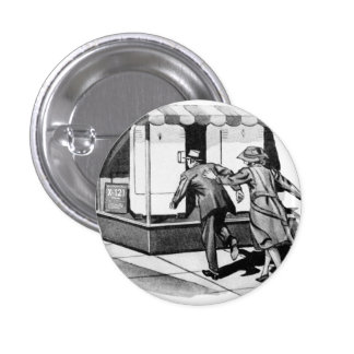 Vintage Kitsch Consumer Overconsumption Fridge Ad Button