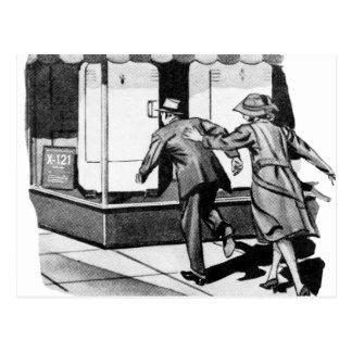 Vintage Kitsch Consumer Overconsumption Fridge Ad Postcard