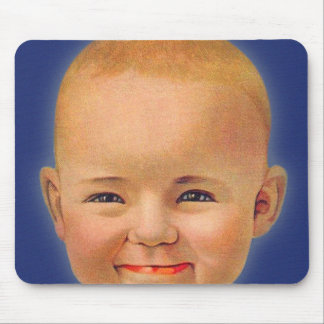 Vintage Kitsch Crazy Smiling Cute Baby Mouse Pad