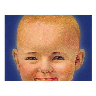 Vintage Kitsch Crazy Smiling Cute Baby Postcard