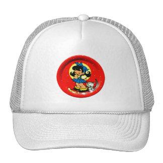 Vintage Kitsch Cute 30s Little Girl & Kitty Trucker Hat