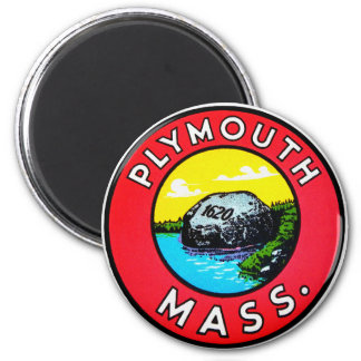 Vintage Kitsch Decal Plymouth Mass. Massachusetts 2 Inch Round Magnet