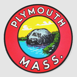 Vintage Kitsch Decal Plymouth Mass. Massachusetts Classic Round Sticker