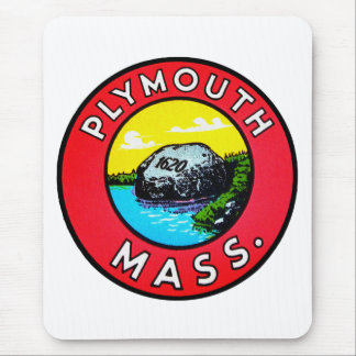 Vintage Kitsch Decal Plymouth Mass. Massachusetts Mouse Pad
