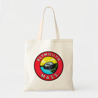 Vintage Kitsch Decal Plymouth Mass. Massachusetts Tote Bag