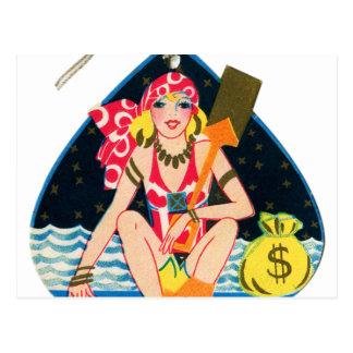 Vintage Kitsch Deco 30s Pin Up Bridge Tally Card