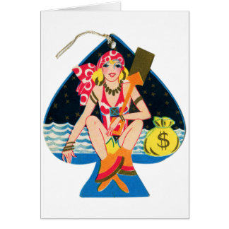 Vintage Kitsch Deco 30s Pin Up Bridge Tally Card