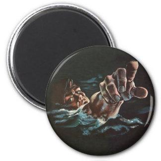 Vintage Kitsch Drowning Illustration 2 Inch Round Magnet