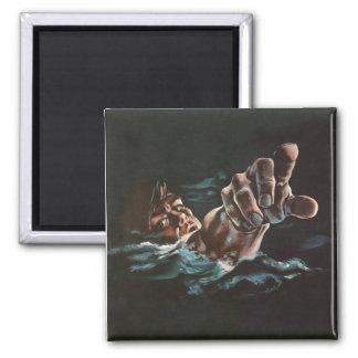Vintage Kitsch Drowning Illustration 2 Inch Square Magnet