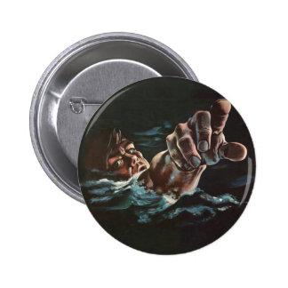Vintage Kitsch Drowning Illustration Button