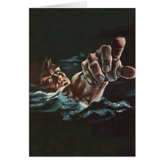 Vintage Kitsch Drowning Illustration Card