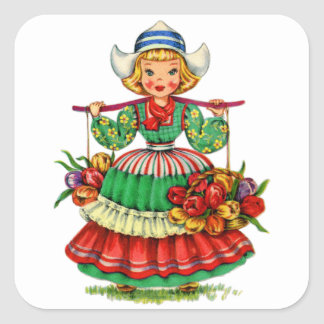 Vintage Kitsch Dutch Girl Holland with Tulips Square Sticker