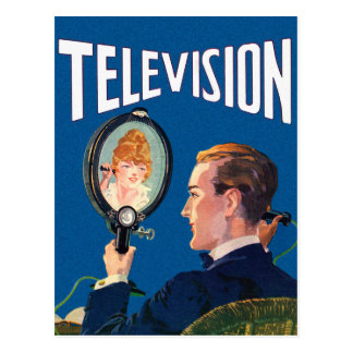 Vintage Kitsch Early Television Smart Phone TV Set Postcard