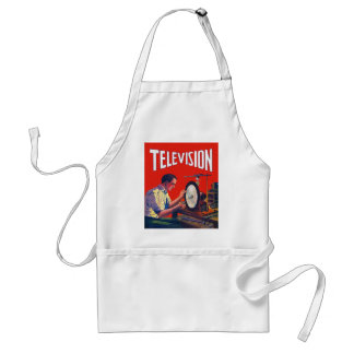 Vintage Kitsch Early TelevisionTechnology TV Set Adult Apron