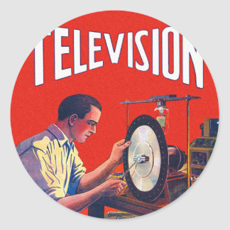 Vintage Kitsch Early TelevisionTechnology TV Set Classic Round Sticker