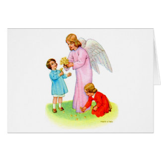 Vintage Kitsch Easter Angel with Two Children Card