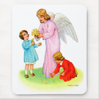 Vintage Kitsch Easter Angel with Two Children Mouse Pad