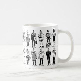 Vintage Kitsch 'Everyday Workers' Ad Illustration Coffee Mug