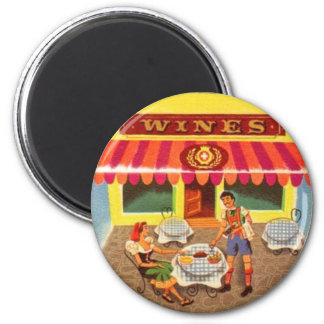 Vintage Kitsch Fifties Wine Cafe Ad Illustration Magnet