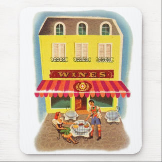 Vintage Kitsch Fifties Wine Cafe Ad Illustration Mouse Pad