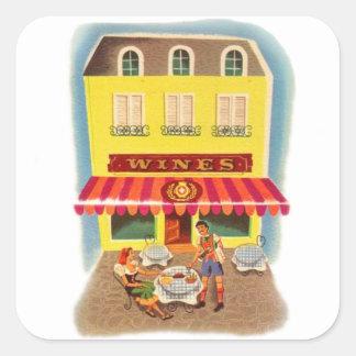 Vintage Kitsch Fifties Wine Cafe Ad Illustration Square Sticker