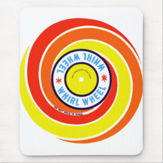 Vintage Kitsch Firework Label Whirl Wheel Mouse Pad