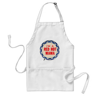 Vintage Kitsch Gag Button I'm A Red Hot Mama Adult Apron