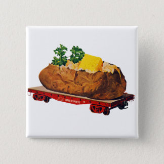 Vintage Kitsch Giant Baked Potato Tater Express Pinback Button