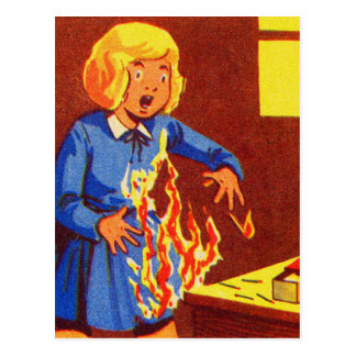 Vintage Kitsch Girl on Fire Playing With Matches Postcard