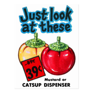 Vintage Kitsch Graphic Ketchup & Mustard Dispenser Postcard