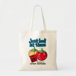 Vintage Kitsch Graphic Ketchup & Mustard Dispenser Tote Bag