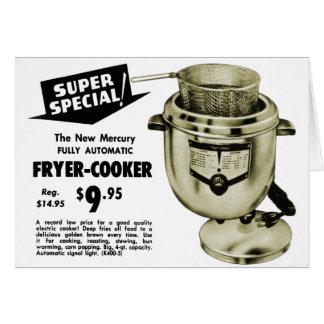 Vintage Kitsch Graphics Deep Fryer Deep Fried Ad Greeting Card