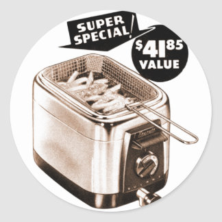Vintage Kitsch Graphics Deep Fryer Deep Fried Ad Classic Round Sticker