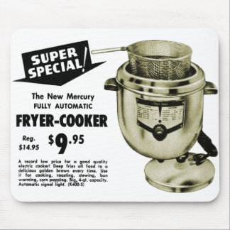 Vintage Kitsch Graphics Deep Fryer Deep Fried Ad Mouse Pad