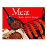 Vintage Kitsch Hamburger Meat You're Right To Like Postcard