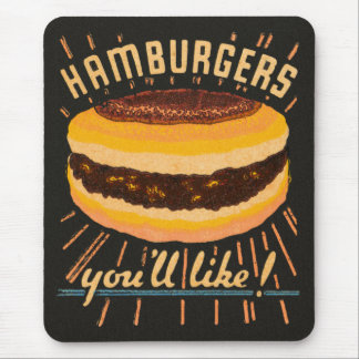Vintage Kitsch Hamburgers Cheeseburger Matchbook Mouse Pad