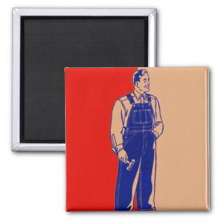 Vintage Kitsch Handyman in Overalls With Hammer Magnet